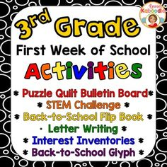 First Week of School Activities Pack for 3rd grade includes everything you'll need to establish a positive classroom environment right from the start! The back to school glyph, first of the year flip book, STEM challenge, and interest inventories are sure to help you understand your
