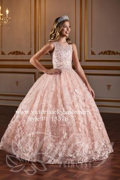266971761 Classic princess ball gown featuring floral lace and glitter tulle. This  look is finished with