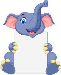 Bande dessinée mignonne d'éléphant retenant le signe blanc Banque d'images - 23825996