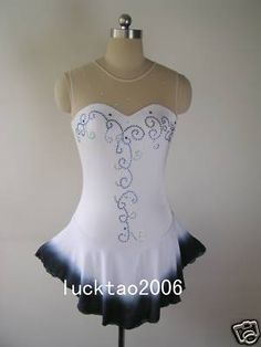 White, with black underskirt and pretty dark sequins
