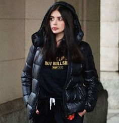 Supermodel in #puffer #jacket #moncler #black