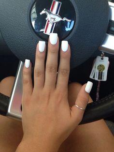 White nails. Matte polish