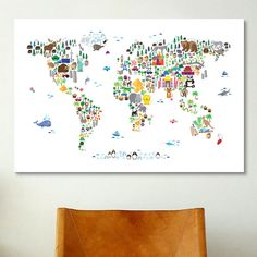 iCanvasArt 'Animal Map of the World' by Michael Tompsett Graphic Art on Canvas & Reviews | Wayfair