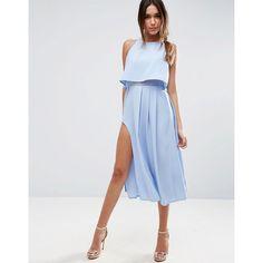 ASOS Crop Top Wrap Split Midi Dress ($83) ❤ liked on Polyvore featuring dresses, blue, crop dress, asos, braid dress, wrap dress and blue pleated dress