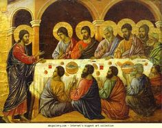 Duccio di Buoninsegna. Maestŕ (back, crowning panel) Christ's Appearance to the Apostles.