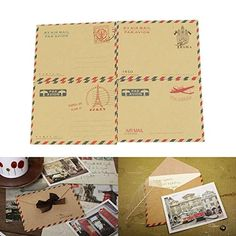 Schoolsupply New Vintage 20 Sheets Mini Envelope Airmail Kraft Postcard Letter Stationary Storage Paper 4 Different Designs schoolsupply http://www.amazon.com/dp/B0148969RQ/ref=cm_sw_r_pi_dp_RweOwb1C8KMXR