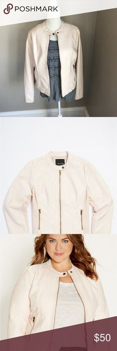 Maurice's Plus Size Moto Jacket Maurice's Plus Size Moto Jacket with Knit Sides in Light Pink. Maurices Jackets & Coats