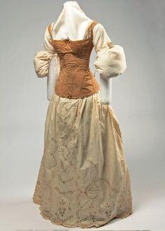 Woman's tan linen corset with shoulder straps, ca. 1825 to 1835 | Missouri History Museum #vintage #vintagefashion