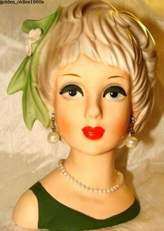 "ULTRA RARE 1960's ""RELPO"" ""TWIG GIRL"" Head Vase with SIDE TWIG and 2/TWO FLOWERS"