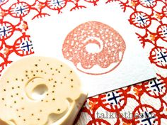 doughnut rubber stamp. designed and carved by talktothesun. available at www.talktothesun.etsy.com