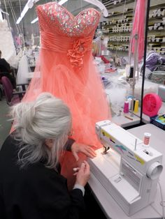 One of our outstanding seamstresses making alterations to a prom gown! At Catan Fashions, the country's largest destination bridal salon. Located just minutes from Cleveland Hopkins Airport www.catanfashions.com