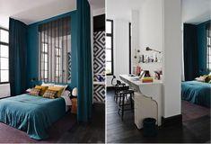 gorgeous paris apartment blue bedroom