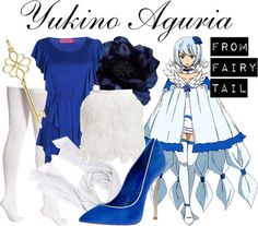 For an outfit inspired by Yukino Aguria of Fairy Tail, tuck a ruffled top into a feather skirt.