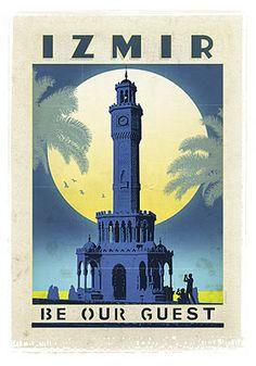 Izmir, former Smyrna, Saat Kulesi (Clock Tower) Vintage Travel Posters, Vintage Postcards, Vintage Images, Vintage Designs, Turkey Tourism, Turkey Travel, Visual Design, Party Vintage, Retro Vintage