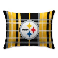 The super-soft, super-cozy NFL Plaid Velvet and Sherpa Pillow is a great way to display your team devotion. Features your favorite football team's logo on a polyester velvet plaid pattern in team colors with a warm and comfy Sherpa back. Steelers Football Game, Steelers Stuff, Pittsburgh Steelers Wallpaper, Steelers Super Bowls, Steeler Nation, Black Plaid, 3 D, Bed Pillows, Plush