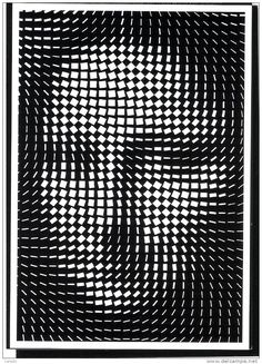 JOCONDE  Yvaral   Mona synthétisée Art Optical, Optical Illusions, Op Art, Portrait Art, Portraits, Mona Lisa, Painting Collage, Generative Art, Illusion Art