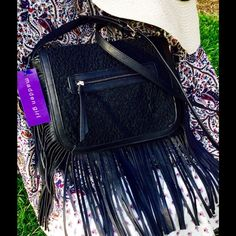"Madden G Fringe Bag Black 🎉❣Lace pattern embossed front flap with zipper compartment. vegan. Zipper pocket inside and two slip compartments. Soft, swingy fringe, 8"" long, flows nice when in motion. The bag is approx. 11"" long and 9"" high, and not heavy. The shoulder strap is approx. 3/4"" wide and is a 28"" drop that can be adjusted a few inches.  Nice bag! 🎉Bundle w heels 4 free shipping❣️Contact me b4 buying🐶 Madden Girl Bags Shoulder Bags"