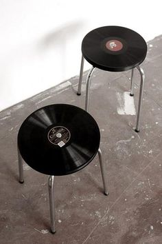 Recycled vinyl records repurposed into snack side tables; retro fun!  Upcycle, Recycle, Salvage, diy, thrift, flea, repurpose!  For vintage ideas and goods shop at Estate ReSale  ReDesign, Bonita Springs, FL