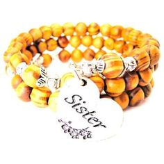 NATURAL WOOD WRAP BANGLE SISTER HEART WITH FLOWERS BRACELET - See more at: http://www.chubbychicocharms.com #Sister #Love #Family #AmericanMade