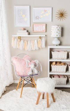 This fit-for-a-princess space is brought to you by pretty pinks, pops of gold and whimsical whites!