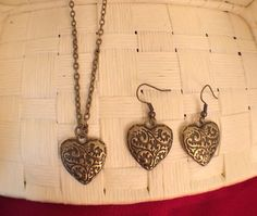 Heart Necklace 24 Inches Antique Brass necklace and Earrings Adjustable (sold separately) by roseyjohnny. Explore more products on http://roseyjohnny.etsy.com