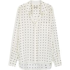 Diane Von Furstenberg White Polka-dot Silk Shirt - Size 14 (1,065 PEN) ❤ liked on Polyvore featuring tops, silk shirt, dot top, dotted shirt, white dotted shirt and diane von furstenberg