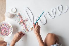 DIY SPRINKLE LETTERS. So easy to make and such an adorable birthday cake topper for a kid's birthday party!