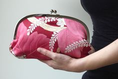 Magenta Pink and Red Leaf Motif Clutch