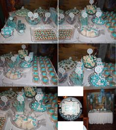 Tiffany Blue & White Candy Bar/Dessert Table I made for my stepdaughter's baby shower! Turned out sooooo cute! Baby Shower Pin, Baby Shower Winter, Baby Shower Gifts, Candy Buffet Tables, Candy Table, Dessert Buffet, Tiffany Baby Showers, White Baby Showers, Tiffany Party