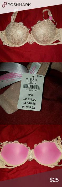 BNWT PINK VS DATE PUSHUP Metallic beautiful bra! size 36D. also fits 38c. Never worn. pet free smoke free home PINK Victoria's Secret Intimates & Sleepwear Bras