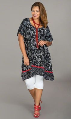 Carson Tunic | SEASONAL FAVORITE! You'll look simply stunning in the unique print and classic design of our Carson Tunic! Button placket at neckline / Flutter cap sleeves / 100% rayon / MiB Plus Size Fashion for Women #plussize #plussizefashion #spring #tunic