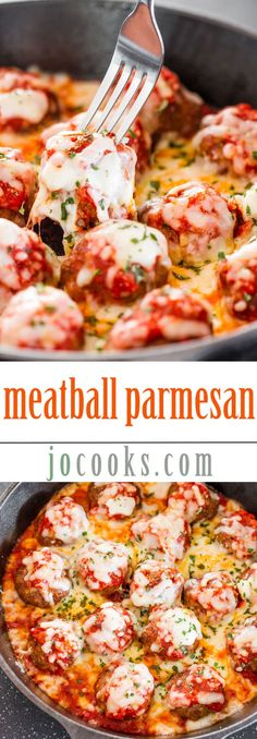 Meatball Parmesan by /jocooks/ - Try these easy traditional meatballs smothered in delicious Ragù Sauce, and top with Mozzarella and Parmesan Cheeses! Beef Dishes, Pasta Dishes, Food Dishes, I Love Food, Good Food, Yummy Food, Tasty, Parmesan Meatballs, Parmesan Recipes