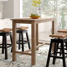 New Allister Solid Wood Dining Table by Birch Lane? kitchen dining furniture sale from top store Counter Height Pub Table, Wood Counter, Counter Bar Stools, Solid Wood Dining Table, Extendable Dining Table, Dining Table In Kitchen, Dining Tables, Kitchen Cart, Pub Tables