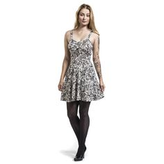 - all over print in tattoo style  - gathered back  - length: about 80 cm
