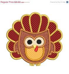 SALE 40 OFF Turkey Owl Applique Machine by embroiderydesignsavi, $1.80