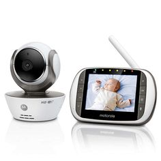 The Motorola Connect HD WiFi video baby monitor comes with a color LCD parent unit offering a remote pan, tilt and digital zoom function that gives you a 300 degree view of your baby's room. Wireless Baby Monitor, Remote Viewing, Baby Health, Baby Safety, Wifi, Smartphone, Parenting, Connect, Internet