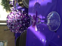 Topiary centerpieces. Purple baby shower. Baby girl.