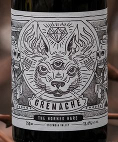 Split Rail Winery - Grenache The Horned Hair Wine Label on Behance Wine Bottle Design, Beer Label Design, Wine Design, Design Design, Cabernet Sauvignon, Sauvignon Blanc, Craft Beer Labels, Wine Labels, Bottle Labels