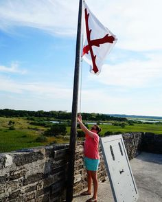 Lowering another #flag at #fortmatanzas #saintaugustine #florida #getoutdoors #travel #goparks #nps #fort