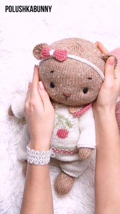 "Knitting: Teddy Bear Clothes ""Cherry"" - Pattern #knitting #teddy #bear #clothes #pattern #doll #toy Teddy Bear Knitting Pattern, Knitted Teddy Bear, Baby Knitting Patterns, Hand Knitting, Teddy Bear Clothes, Teddy Bear Toys, Stuffed Animal Patterns, Diy Stuffed Animals, Diy Doll Costume"