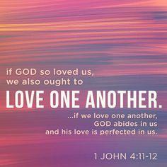 Queridos hermanos, ya que Dios nos ha amado así, también nosotros debemos amarnos los unos a los otros. Nadie ha visto jamás a Dios, pero si nos amamos los unos a los otros, Dios permanece entre nosotros, y entre nosotros su amor se ha manifestado plenamente. 1 Juan 4:11-12 NVI http://bible.com/128/1jn.4.11-12.NVI