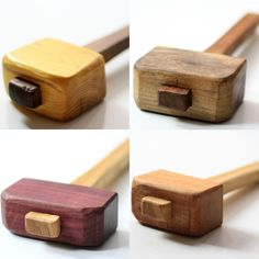 Osage orange, walnut, purple heart and angel heart mallets by Darbin Orvar. Handcrafted and one-of-a-kind. Like colorful jewels that are useful too.