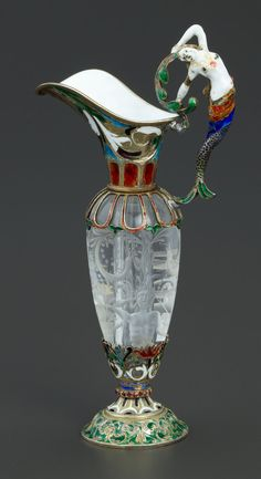 A CASED FRENCH ROCK CRYSTAL, SILVER GILT AND ENAMEL EWER. Unknown maker, France, circa 1850.