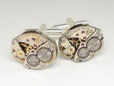 Steampunk cuff links antique Bulova watch movements silver mens wedding anniversary cufflinks