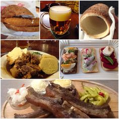 Fried cheese sandwich, Pilsner beer, Trdelník, pork and dumplings, Chlebíčky, pork ribs. Czech Republic