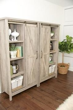 Reviews Better Homes and Gardens Modern Farmhouse Storage Cabinet, Rustic Gray Finish at Walmart.com