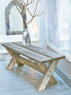 For some truly pared-back, relaxed living, this wonderfully uber rustic wooden bench will be useful addition to any space. Rustic Wooden Bench, Wooden Pallet Furniture, Wooden Diy, Rustic Furniture, Wood Pallets, Diy Furniture, Pallet Sofa, Furniture Outlet, Modern Furniture
