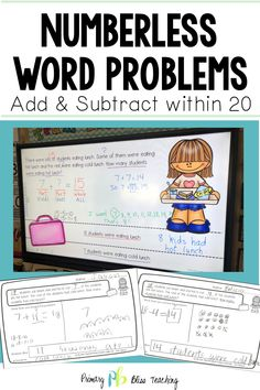 Numberless Word Problems for Addition and Subtraction in Grade Teaching Strategies, Teaching Math, Teaching Addition, Math Fact Fluency, Math Words, Math Word Problems, Math Facts, First Grade Math, Addition And Subtraction