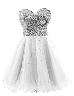 c0fcb90f1 Sarahbridal Juniors Short Tulle Sequin Homeocoming Dresses Backless Prom  Party Gowns White >>> You can obtain even more details by clicking the  picture.
