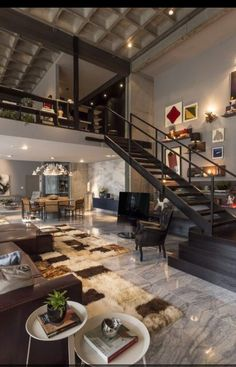 Apartments:Ceiling Lamps Black Wooden Stairs Grey Granite Floor Modern Wool  Rugs Brown Leather Sofa White Side Table Wall Decorations Modern  Chandeliers ...